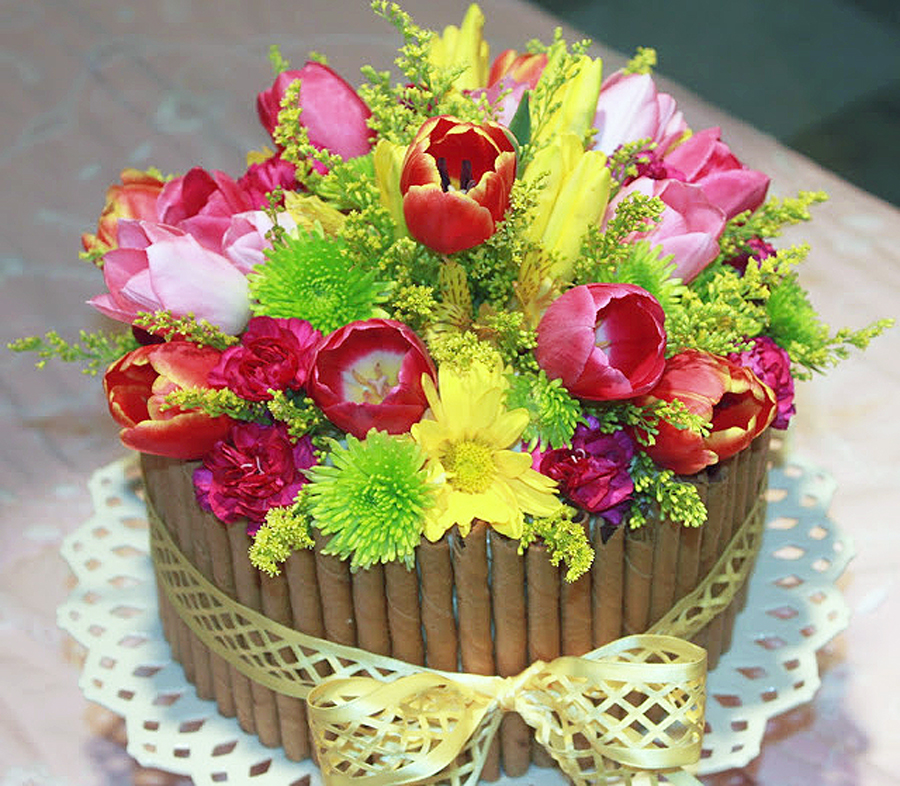 Flower easter basket cake cheery kitchen flower basket cake negle Gallery