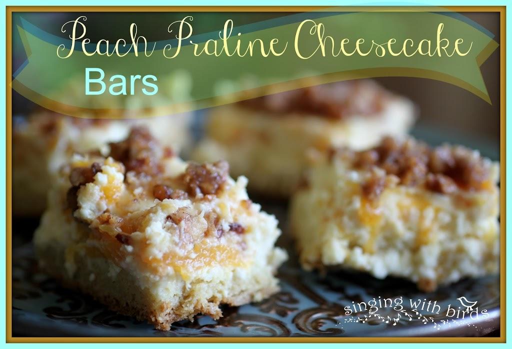 Peach Praline Cheesecake Bars