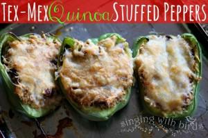 Tex-Mex Quinoa Stuffed Peppers / cheerykitchen.com