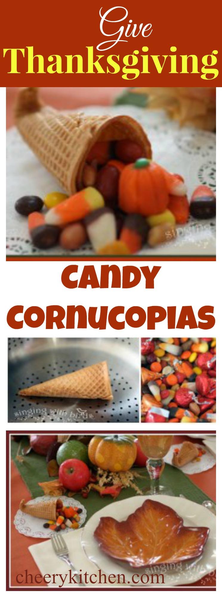 Thanksgiving Candy Cornucopias