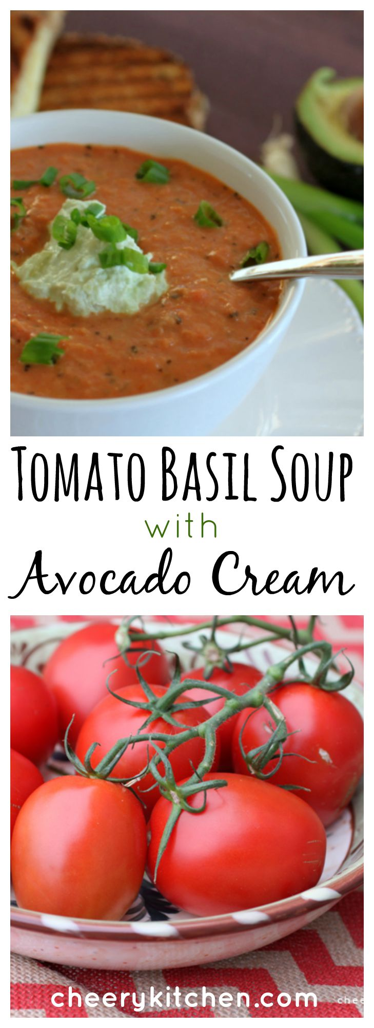 Tomato Basil Soup with Avocado Cream