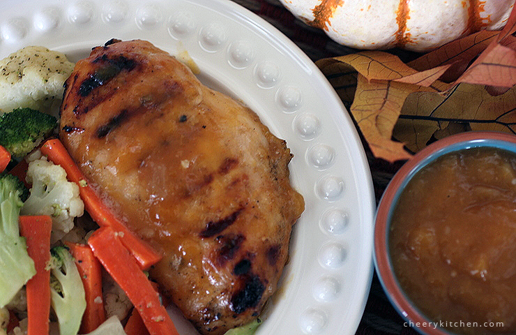Grilled Chicken with Peach Chutney Glaze