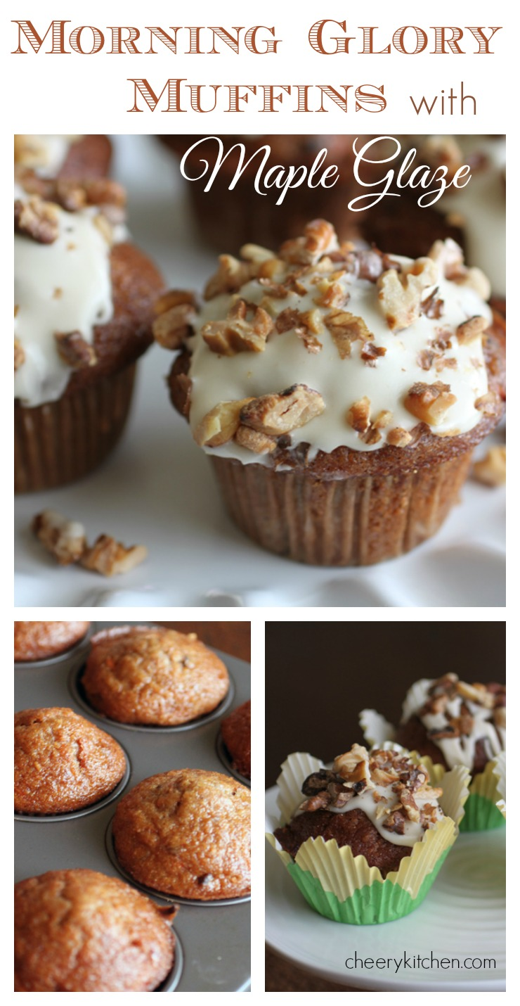 So tender and packed with goodness, Morning Glory Muffins with Maple Glaze are a perfect way to start your day.  Topped with creamy glaze and toasted pecans, they're our best muffins ever!