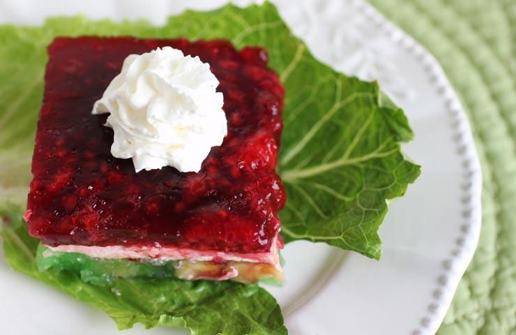 Christmas Ribbon Gelatin Salad | cheerykitchen.com