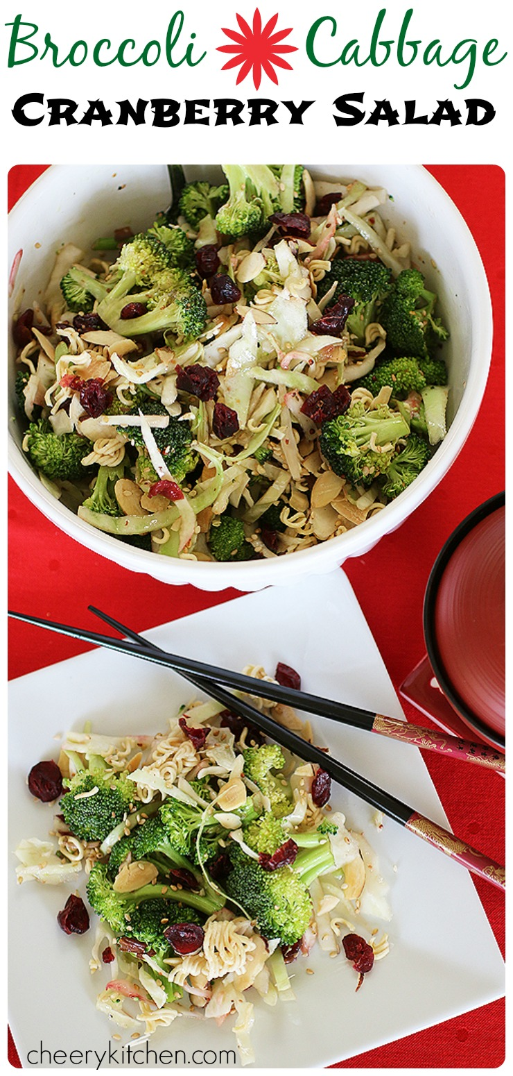 Crunchy and bright, Broccoli Cabbage Cranberry Salad, is full of fresh veggies, craisins, ramen noodles, sesame seeds, and almonds. Toss with a delicious sesame dressing for a sweet and savory, soon to be favorite treat!