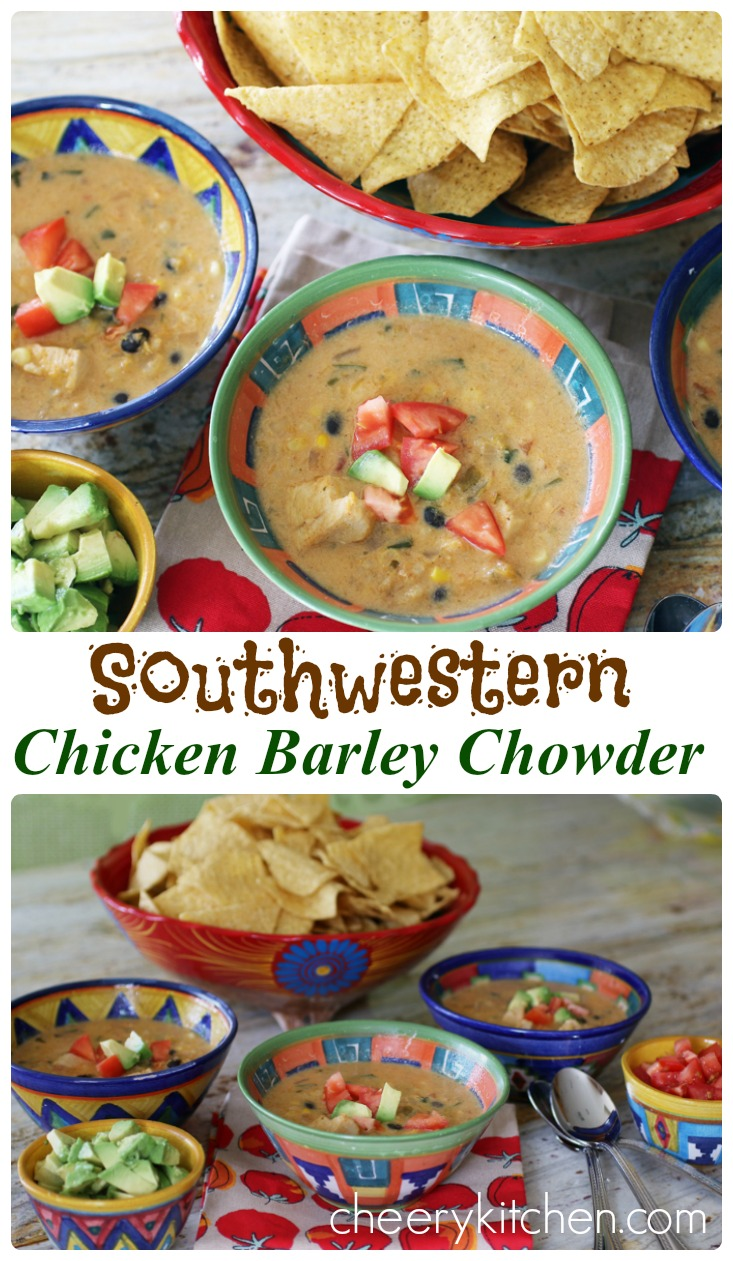 Comforting and flavorful, Southwestern Chicken Barley Soup is full of veggies, chicken, barley, and thickened with butternut squash puree. It makes a great freezer meal you'll love, SOUP'S ON!!!!