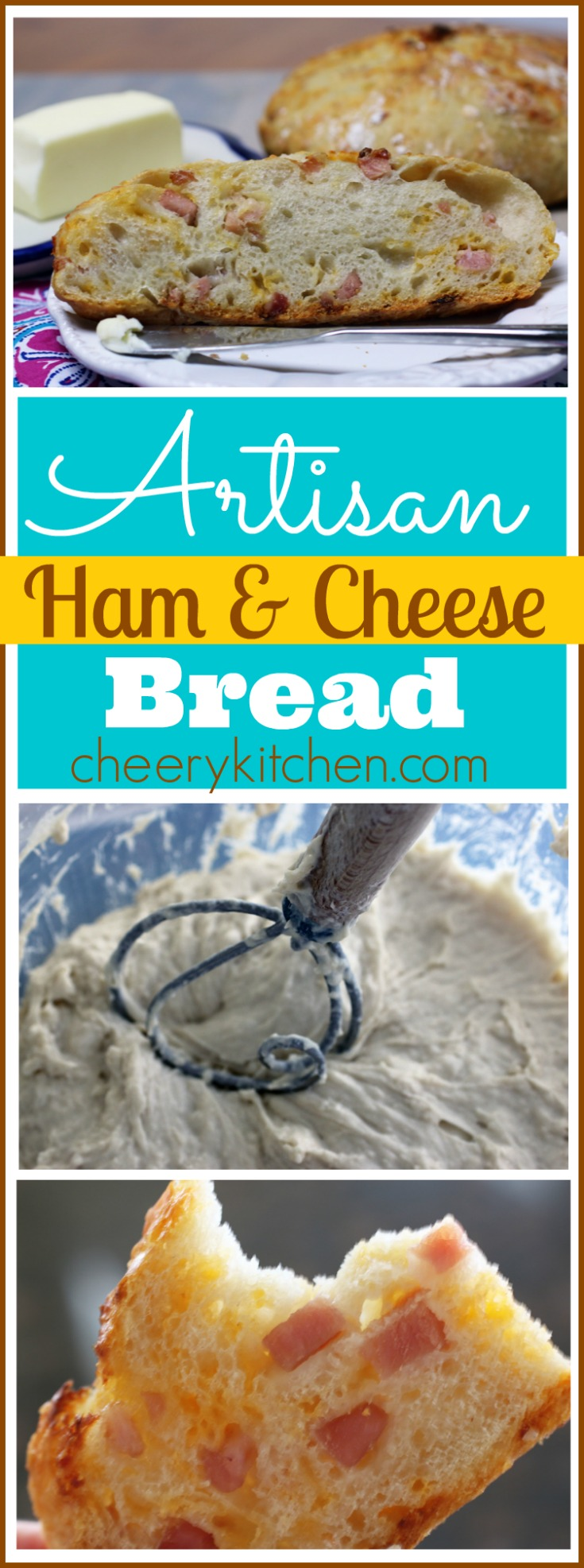Simple, rustic, Artisan Ham & Cheese Bread is tender, flavorful, and the easiest, best bread you'll ever make. Friends won't believe you baked it, give it a try!