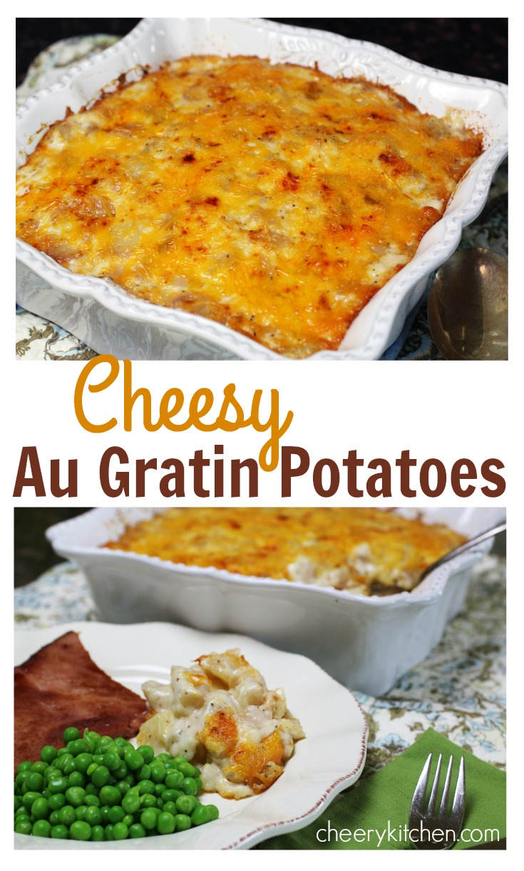 Creamy Cheesy Au Gratin Potatoes are the perfect side dish with ham, chicken, pork, or beef. Make them just cheesy, or Load them UP with bacon, green onions, green peppers, and sour cream!