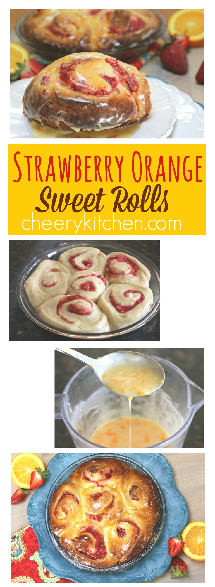 The best Strawberry Orange Sweet Rolls are tender and light yet packed with fresh strawberries and covered with orange glaze!