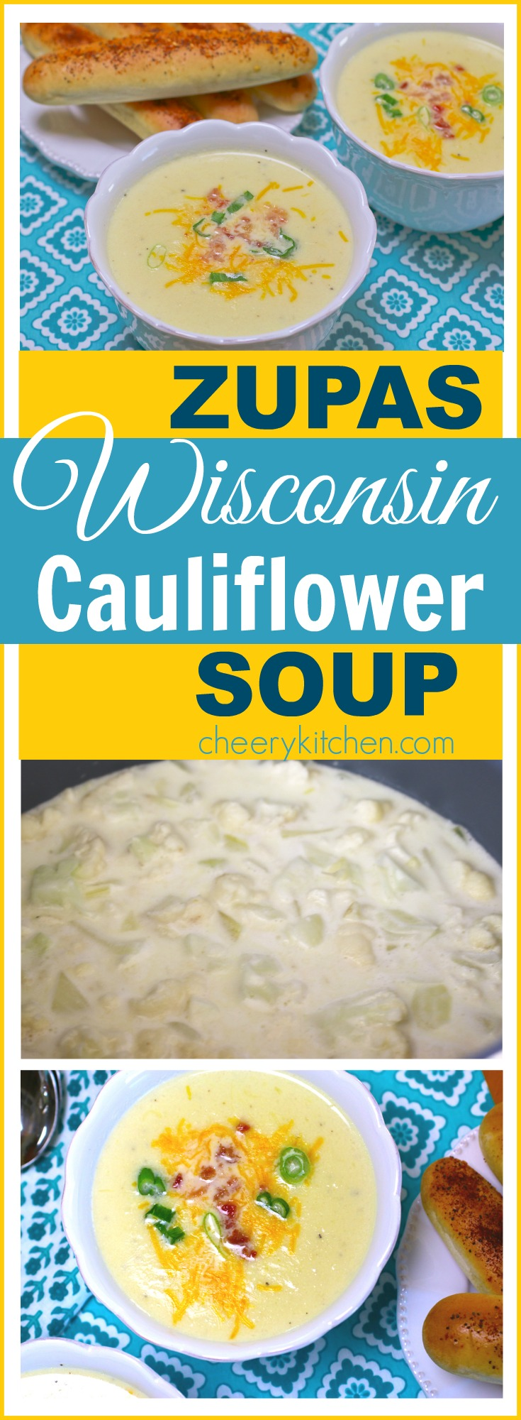 Sensational Zupas Wisconsin Cauliflower Soup is flavorful, topped with cheese, onions, and bacon, YUM!
