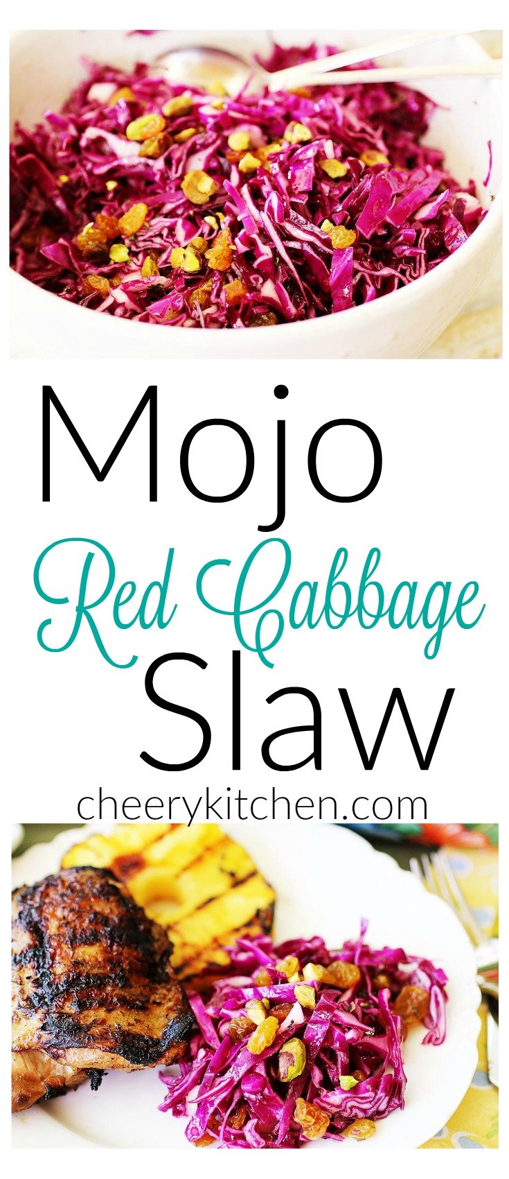 Fresh, citrusy, crunchy, healthy, and colorful, Mojo Red Cabbage Slaw is a great side dish for all of your summer parties and picnics.