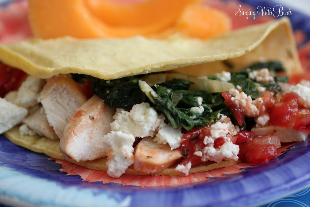 Chicken Tacos with Garlicky Mexican Greens