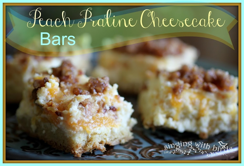 Peach Praline Cheesecake Bars
