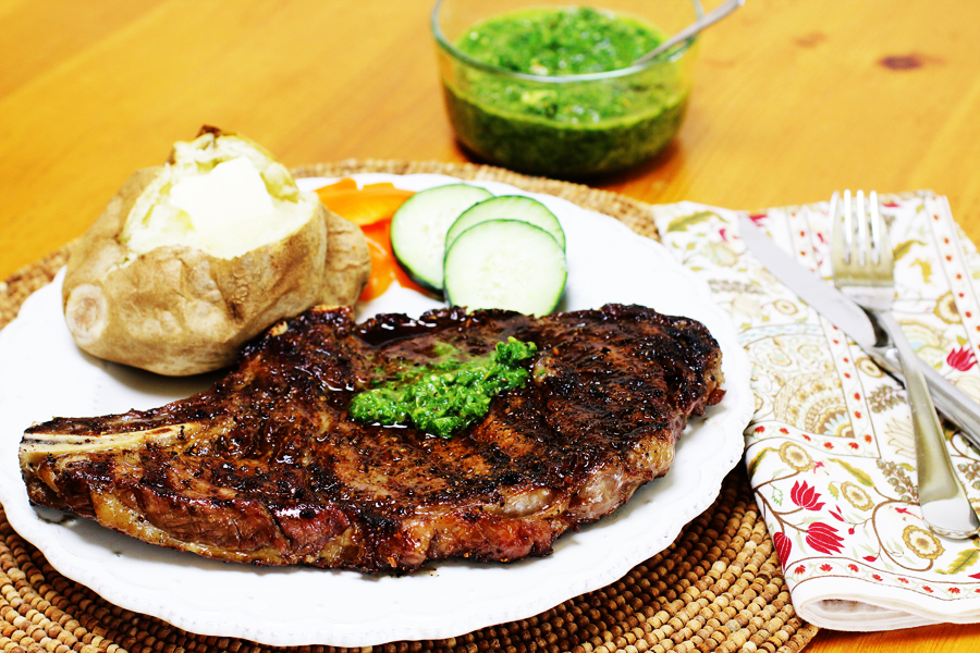 Grilled Ribeye Steaks with Chimichurri Sauce