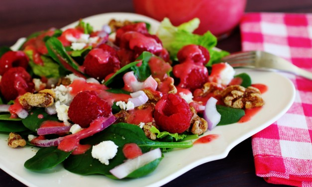 Raspberry Walnut Spinach Salad